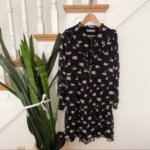 Hallhuber Donna Black Swan Bird Print Mini Dress